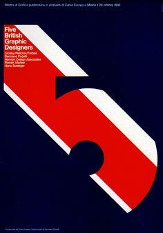 1969 Advertising Poster, Five British Graphic Designers, by Studio Coppola, Milan, Italy