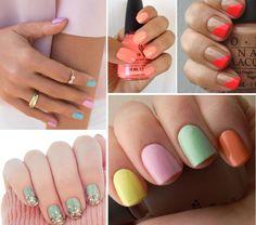 Nails, naglar, pastel, orange, minth