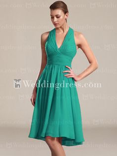 Chiffon Bridesmaid Dresses Short_Seafoam I think it would look better a lighter seafoam or gray/charcoal color…possibly shorter as well
