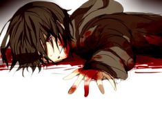 Anime. Anime Guy. Dark Brown Hair. Crying. Blood. Guro. Gore. Hoodie. Sweater.