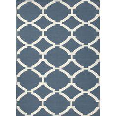 Jaipur Rugs FlatWeave Geometric Pattern Blue/Ivory Wool Area Rug MR19 (Rectangle)