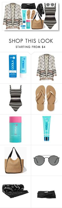 """""""Beach Bum"""" by lindseybe ❤ liked on Polyvore featuring COOLA Suncare, River Island, Gottex, Old Navy, Ray-Ban, The Beach People and Eugenia Kim"""