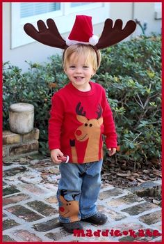 Christmas Reindeer Boys Outfit Rudolph Holiday Jeans by maddiekate - StyleSays
