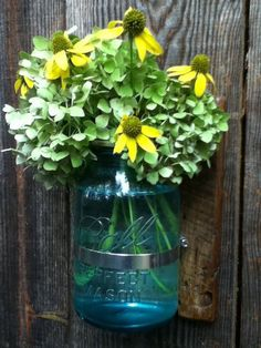 Rustic wall hanging flower jar by HickoryHollowRustics on Etsy, $30.00
