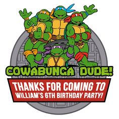 TMNT Party sticker - order a personalised sticker from Etsy: https://www.etsy.com/uk/listing/398663007/tmnt-personalised-thank-you-stickers?ref=shop_home_active_14