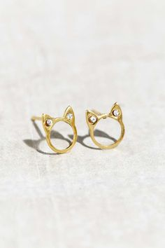 Sterling Silver + 18k Gold Plated Stud Earring - Urban Outfitters