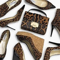Jimmy Choo Animal Print Leopard Heels, Wedges & Bag #JimmyChoo #Choos #Shoes