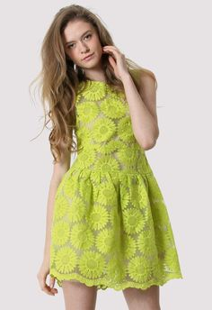 Floral Embroidered Dress in Neon Yellow