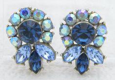 VTG RARE CROWN TRIFARI Silver Tone Blue Rhinestone Flower Clip Earrings #Trifari #Clip