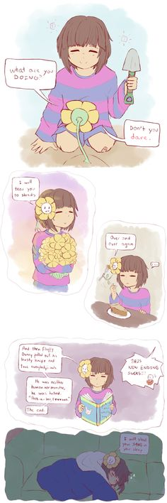 Frisk and Flowey - comic - http://pikochudayo.tumblr.com/post/131838197621/mtt-brand-fashion-floweys-for-wearing-not-murder