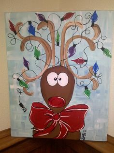 Christmas Reindeer: Acrylic on canvas from class at Bristles Art Studio in Hattiesburg, Ms. I waited an entire year to paint this. It was worth the wait!