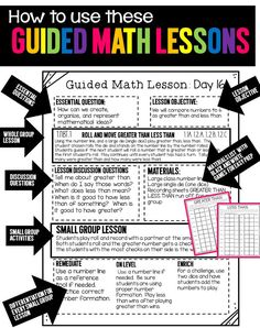Guided Math Guided Math – Tunstall's Teaching Tidbits, math lesson plans, math lessons with materials, math printables, Maths Guidés, Math Classroom, Teaching Math, Kindergarten Math, Math Games, Math Activities, Math Fractions, Classroom Schedule, Preschool