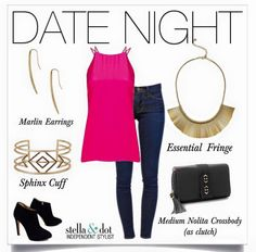 Date night! Fringe and stilettos. Shop jewelry and clutch here: http://www.stelladot.com/shop/en_us/p/essential-fringe-necklace?s=lindseyneuhaus&color=gold  Essential Fringe $59, Marlin Earrings $39, Sphinx Cuff $79 and Nolita Clutch $89 all from Stella & Dot!