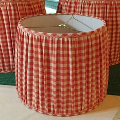 Custom Gathered Lamp Shade - Mushroom Pleat Lampshade - Ruched Lamp Shades - COM Lamp Shade - Customer Supplied Fabric - Made to Order, DIY and Crafts, Gathered shades using customer& own fabric -- a beautiful red and cream picnic check. Cover Lampshade, Fabric Lampshade, Lampshade Ideas, Red Lamp Shade, Lamp Shades, Interior Paint Sprayer, Mackenzie Childs Inspired, Diy Furniture Renovation, Make A Lamp