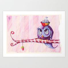 Sweet Owl Art Print by Gloria T.  Dauden - $17.68