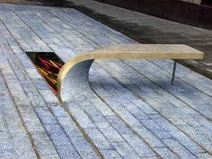 Extruded bench with recessed lighting at Blue Carpet Square by Heatherwick Studio, Newcastle-upon-Tyne, UK. Click image for link to full profile and visit the slowottawa.ca boards >> https://www.pinterest.com/slowottawa/boards/