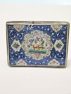 Sterling Enamel Card Case Persian Antique Rare