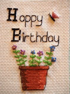 - embroidered Happy Birthday Card