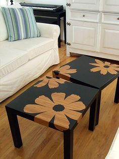 Great DIY tables. My neighbor has black trays to eat in front of t.v. He likes fleur di lis.....idea coming to mind.