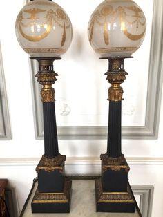 Paire De Lampes Empire En Bronze, Jullion, Proantic
