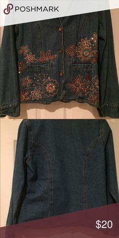 Denim jacket with flower sequins 3 front button denim jacket with flower sequins shaver lake Jackets & Coats Jean Jackets