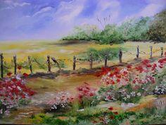 champ de colza et coquelicots paysage de notre belle normandie : Peintures par lilihervieu