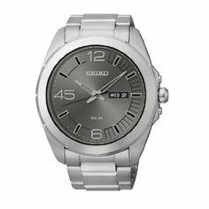Seiko Men's SNE273 Analog Display Japanese Quartz Silver Watch  Solar Day date Hardlex crystal Push button 3-fold strap Water-resistant to 100 M (330 feet)