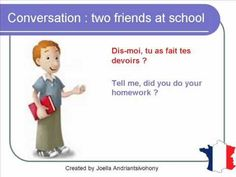 French Lesson 64 - Friends talking at school - Informal dialogue conversation English subtitles French Teacher, Teaching French, Learn French, Learn English, French Conversation, Ontario Curriculum, Core French, French Classroom, French Resources