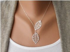Silver leaf necklace Silver Lariat Necklace by braceletbanglecase Silver Necklaces, Silver Jewelry, Charm Jewelry, Jewlery, Etsy Jewelry, Big Jewelry, Silver Choker, Fall Jewelry, Charm Bracelets