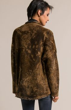 $925.00   Avant Toi Jacquard Short Cardigan in Caramel Brown   Avant Toi clothing, by Mirko Ghignone, is avant garde and elegant. It is created by using experimental hand-dyeing and processing on fine fabrics and textiles. The line crosses into elegant and artistic with a grungy aesthetic. This brown cashmere open jacket is simple yet textural in color. Avant Toi is sold online and in-store at Santa Fe Dry Goods & Workshop in Santa Fe, New Mexico.