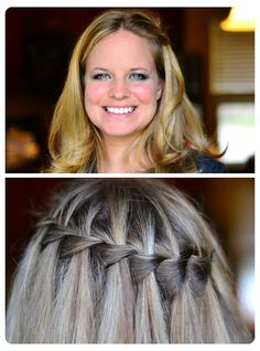 Hair - Waterfall braid - front and back view
