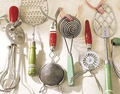 display vintage kitchen accessories with gingham ribbon....