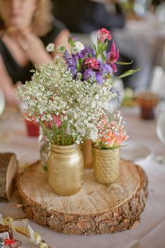 gold painted mason jars // photo by Caitlin Thomas // http://ruffledblog.com/whimsical-pennsylvania-wedding
