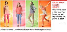 Uniqlo colored skinny jeans.