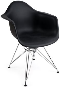 Each plastic Eiffel wire base chair has a bucket seat with armrests for a comfortable design! Check out extensive office décor selection! Small Accent Chairs, Accent Chairs For Living Room, Stool Color Chart, Eames Furniture, Business Furniture, Bucket Seats, Plastic Molds, Contemporary Style, Modern
