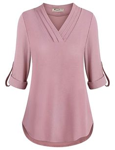 online shopping for Moyabo Womens Cuffed Sleeve Chiffon Triple Pleat V Neck Casual Blouse Shirt Tops from top store. See new offer for Moyabo Womens Cuffed Sleeve Chiffon Triple Pleat V Neck Casual Blouse Shirt Tops Smart Casual Wear, Casual Wear Women, Casual Tops For Women, Shirts & Tops, Shirt Blouses, Tops Online Shopping, Street Style Outfits, Lehenga Online, Fall Shirts