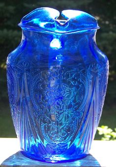 Rare Cobalt Blue Royal Lace Depression Glass 96 oz. Ice Lip Pitcher from cousinsantiques on Ruby Lane