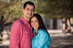 Cute girl and her boyfriend stock photo
