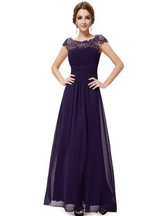 Amazon.com: Ever Pretty Juniors Cap Sleeve Empire Waist Floor Length Prom Dress 6 US Purple: Clothing