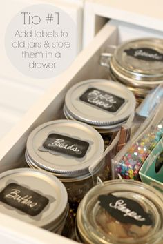 12 Craft Room Organization Tips Craft Room Organization - Tip by PartiesforPennies. Small Craft Rooms, Chalkboard Labels, Baby Food Jars, Family Organizer, Craft Organization, Getting Organized, Pennies, Canning Jars, Mason Jars