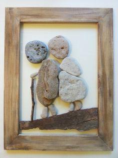 Pebble art, Stone art, Pebble picture, Unique gift, Beach Stone Artwork, Home Decor, Framed Wall Art, New Home Gift, 3D ArtAyalaMor