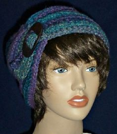 Couched slouch hat in blues purples & greens FREE by WearablesByAC $28 with free shipping