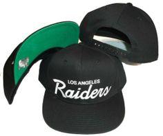 Los Angeles Raiders Black Plastic Snapback Adjustable Plastic Snap Back Hat    Cap by Reebok. a4a8e8417f5d