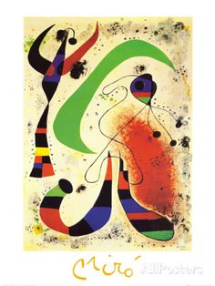 Art Print: Night Art Print by Joan Miró by Joan Miro : Joan Miro Paintings, Modern Art Paintings, Framed Art Prints, Fine Art Prints, Famous Modern Art, Fine Art Posters, Kunst Poster, Principles Of Art, Famous Artists