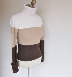 Cashmere sweater, vintage cashmere sweater,color block, roll neck jumper, striped cashmere, ladies small sweater by boutiquefantastique on Etsy