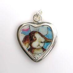 Broken China Jewelry - Bill Bell Bunny Rabbit - Sterling Silver Charm