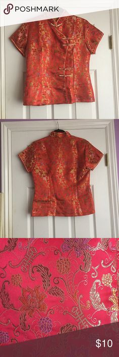 "🛍NEW LISTING🛍 CHINESE TOP In great condition with the ball and loop closures down the front. The size tag isn't there but from arm pit to arm pit is 19"" the matching skirt is on a separate listing. Feel free to ask questions ☺👍🏼 Tops"