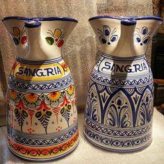 #Spanish #Ceramic #Pitcher #Sangria #Jarra #Ceramica #Española #Handpainted #Mijas #Malaga #Spain #Lionluis #Mijasart #Colorful #Blue