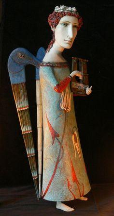 "Gulya Alexeyev - ""Angel with Lyre."" Papier-mache, wood, efaplast. 57 cm."