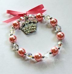 Pink Pearl and crystal bracelet for little girls Rhinestone crown or tiara charm Shiny Bling Perfect Princess Gift YOU CHOOSE COLOR on Etsy, $7.85